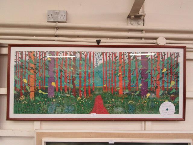 A framed and glazed David Hockney print