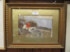 A framed and glazed oil on board of hunting scene