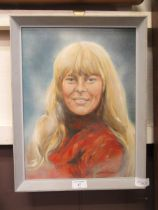 """A framed oil on board of lady titled """"joy"""" signed Lionel Rouse"""