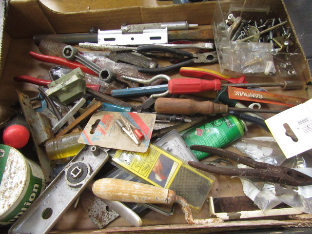 Four trays containing a large quantity of hand tools, spanners, chisels, tool boxes etc. - Image 4 of 8