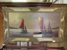 A gilt framed oil on canvas of sailing vessels signed Beckmann