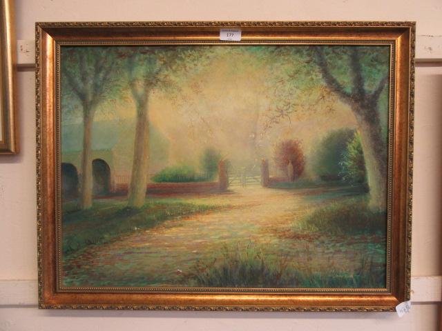 A gilt framed oil on board of a foggy country yard scene signed John Doig