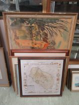 A selection of framed prints, watercolours,