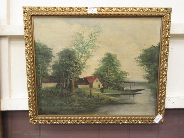 A gilt framed oil on board of cottage by river scene signed Varnet