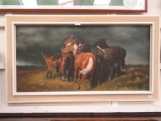 A framed oil on canvas of cuddling horses