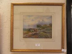 A framed and glazed watercolour of logging scene signed Edward Lait