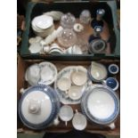 Two trays of ceramic and glass ware to include a large tureen, part Shelly tea set etc.