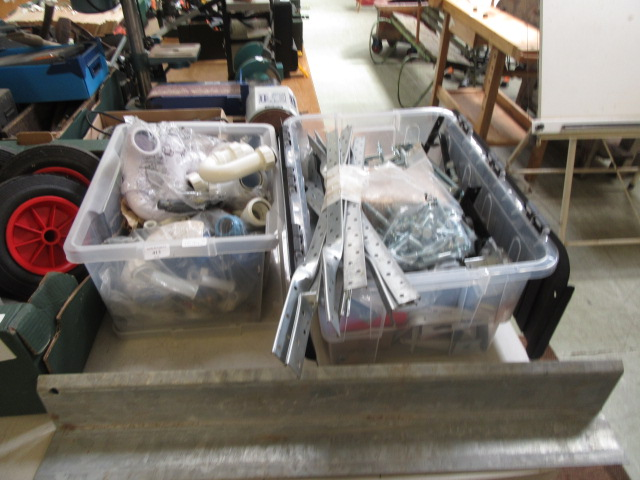 Two boxes of nuts, bolts, builders equipment, plumbers equipment etc.