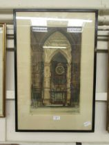 A framed and glazed hand coloured engraving of cathedral interior signed bottom right