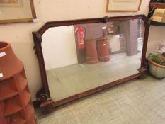 An Edwardian walnut famed mirror (part of another piece)