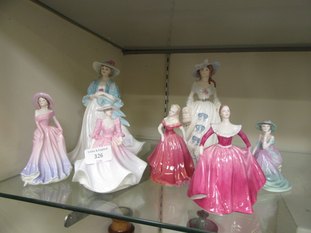 A collection of seven Coalport figurines of young ladies