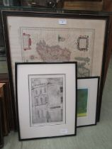 A framed and glazed map along with an artist's proof print etc