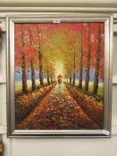 A framed oil on canvas of autumnal lane scene