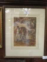 A framed and glazed watercolour of huntsman with horse