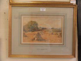A framed and glazed watercolour of harvest scene signed Wilmot Pilsbury 1908