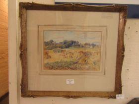A framed and glazed watercolour of harvest scene signed bottom left