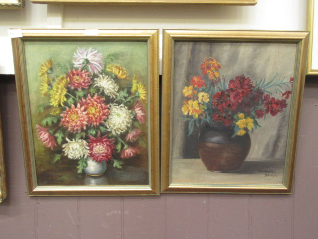 Two oil on boards of still life signed Marion Broom