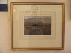 A framed and glazed watercolour of ploughing scene signed Walker 1875
