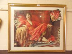 A framed and glazed print titled Leila after Sir Frank Dicksee