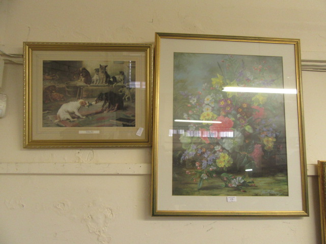 A large framed and glazed print of still life after Albert Williams together with a framed and