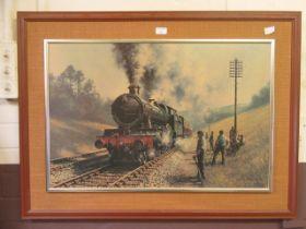 A print of a steam locomotive after Breckon