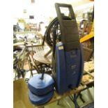 A blue Nilfisk pressure washer