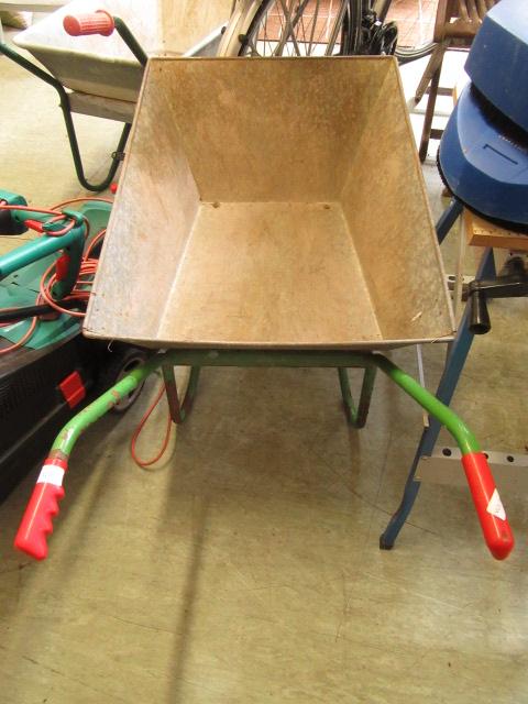 A metal wheelbarrow