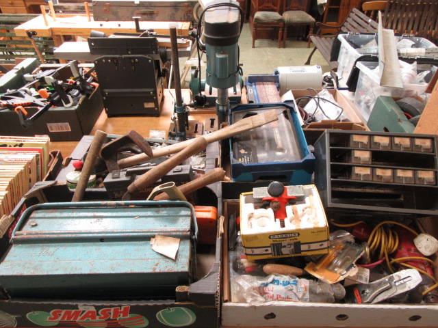 Four trays containing a large quantity of hand tools, spanners, chisels, tool boxes etc.