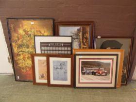 A selection of framed and glazed prints, needleworks,