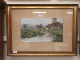 A framed and glazed watercolour of cattle by river scene signed Coast CONDITION REPORT: