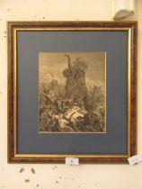 A framed print of war elephant
