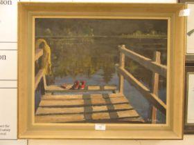 A framed oil on board of lake scene signed E.H.