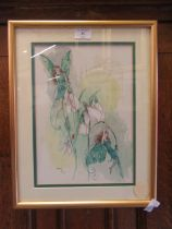 A framed and glazed watercolour of fairies on snowdrops signed Glenda Rae