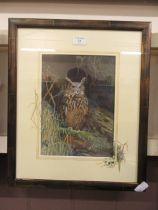 A framed and glazed watercolour of long eared owl signed Glenda Rae