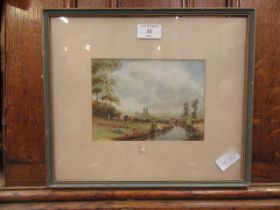 A framed and glazed watercolour of ladies camping by river