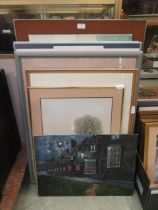 A selection of framed and unframed prints and oils on board,