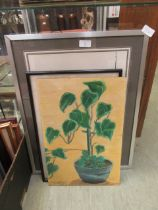 An oil on board of green plant along with two others