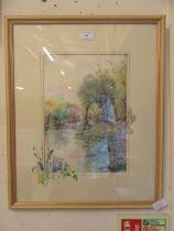 A framed and glazed watercolour of river scene signed Glenda Rae