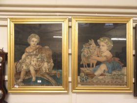 A pair of 19th century framed and glazed German artworks of children and animals