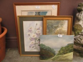 A selection of framed and unframed watercolours, oils,