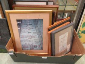 A tray containing a quantity of prints etc