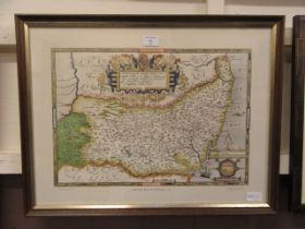 A framed and glazed reproduction Saxton's map of Suffolk