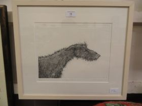 A framed and glazed limited edition print of sorry looking dog signed Reed 2011