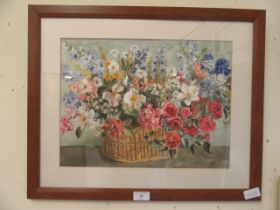 A framed and glazed watercolour of still life signed L.