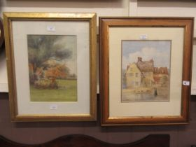 Two framed and glazed watercolours of countryside and cottage scenes