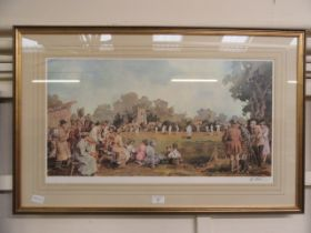 A framed and glazed print of cricket match scene signed Sturgeon