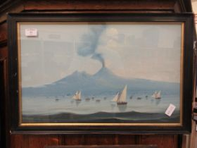 A framed and glazed Japanese oil painting of sailing vessels before a volcano
