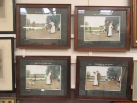 A set of four framed and glazed prints on fishing theme after Thackeray