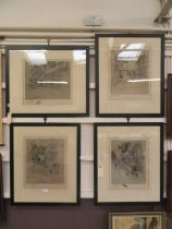 A set of four framed and glazed prints of town scenes signed Cecil Aldin with blind stamp