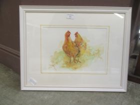A framed and glazed watercolour of chickens after Glenda Rae